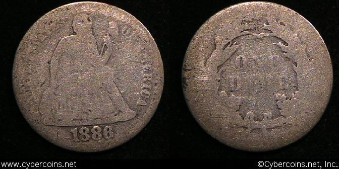 1886 Seated Dime, Grade= AG