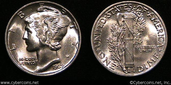 1939 Mercury Dime, Grade= MS66