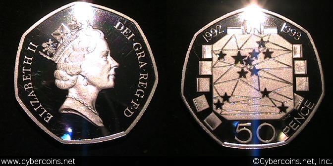 Great Britain, 50 Pence Piedfort, 1992, Proof,