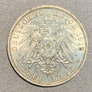 Germany, Prussia, 1912A - 3 Mark - AU, 1 year type