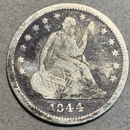 1844 Seated Liberty Quarter, F, problems