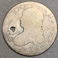1818 Cap Bust Quarter, Fair2, holed