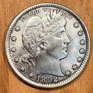 1892 Barber Quarter, AU, cleaned