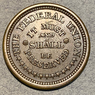 Civil War Token, 1863, Army and Navy, AU, Federal Union