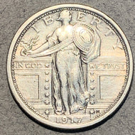 1917 Type 1, Standing Liberty Quarter, AU, cleaned