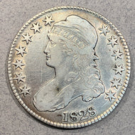 1828 Cap Bust Half Dollar, F18, cleaned and scratches