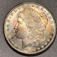 1884 CC Morgan Dollar, MS64 oddly nice striated colorful obv toning