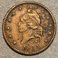 Civil War Token, 1863, Army and Navy, XF, corroded