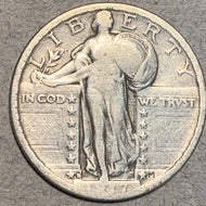 1917 D Type 2 Standing Liberty Quarter, F, cleaned
