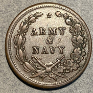 Civil War Token, 1863, Army and Navy, XF