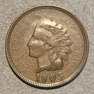 1905 Indian Cent, XF, Error- Strike through on large area of obv.