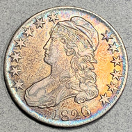 1826 Cap Bust Half Dollar, XF, beautiful toning