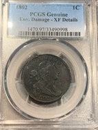 1802 Stemless Draped Bust Large Cent PCGS XF detail, Env. Damage