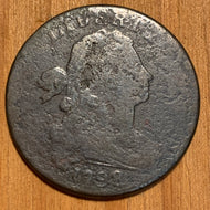 1798 large Cent Draped Bust, F