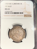 Great Britain, 1723 SSC Shilling, NGC MS65, 1st bust