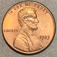 1983 Lincoln Cent, AU58, Error- double die reverse