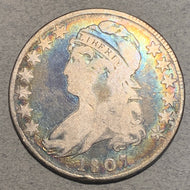 1807 Capped Bust Half Dollar, VG large stars 50 over 20 (reverse) Attractive toning