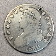 1830 Cap Bust Half Dollar, VG, cleaned and 2 mm hole