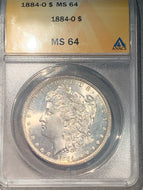 1884 O Morgan Dollar, ANACS slab MS64