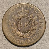 French Colonies, 1767,  Sou, Counter-stamped RF