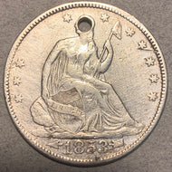 1853 Seated Half Dollar, Grade= XF arrows and rays, cleaned and 2mm hole