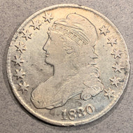 1830 Cap Bust Half Dollar, VG, cleaned