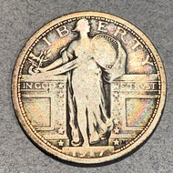1917 Type 1 Standing Quarter, VG10 scratch on rev