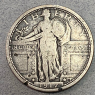 1917 Type 1 Standing Quarter, F strong date and a few ticks