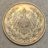 Germany, 1906E, 1/2 mark, AU nice gold tone, KM17