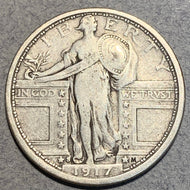 1917 S Type 1 Standing Liberty Quarter, VF