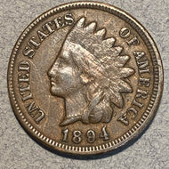 1894 Indian Head Cent, F, Repunched date error