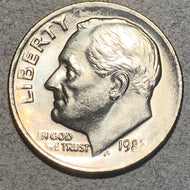 "1982 Roosevelt Dime, MS64, Two errors No ""P"" mintmark and slight brockage."