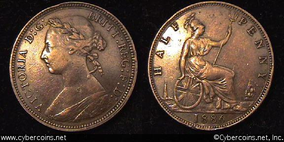 Great Britain, 1886,  1/2 penny, VF/XF, KM754