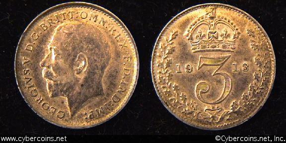 Great Britain, 1913,  3 pence,  AU, KM813