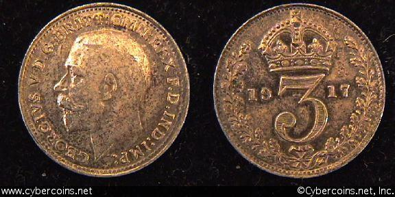 Great Britain, 1917,  3 pence, AU, KM813