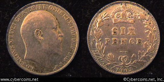 Great Britain, 1903,  6 pence,  VF/XF, KM799