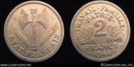 France/Vichy, 1944C,  2 francs, XF, KM904.3