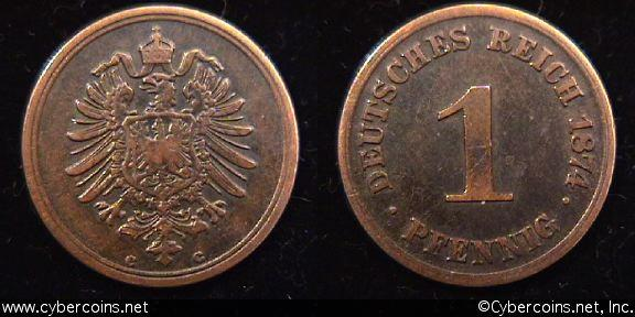 Germany, 1874C, 1 pfennig,  VF, KM1