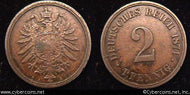 Germany, 1874A,  2 pfennig,  XF, KM2