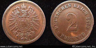 Germany, 1875A,   2 pfennig, XF-, KM2