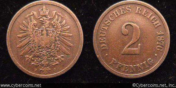 Germany, 1876J,   2 pfennig, VF, KM12