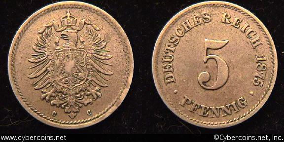Germany, 1875C,  5 pfennig, XF, KM3