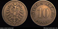 Germany, 1874F,  10 pfennig, VF, KM4
