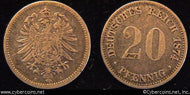 Germany, 1874A, 20 pfennig,  VF, KM5