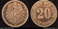 Germany, 1874A, 20 pfennig,  XF, KM5