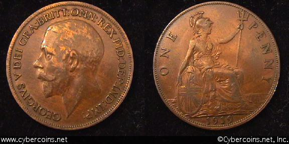Great Britain, 1919,  1 penny,   XF, KM810
