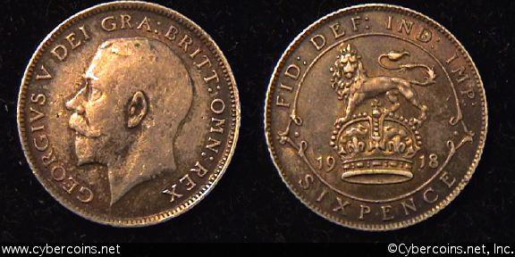 Great Britain, 1918,  6 pence,  AU, KM815