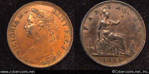 Great Britain, 1886,   1 farthing, Choice XF, KM753