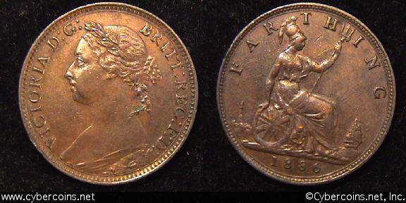 Great Britain, 1886,  1 farthing,  AU, KM753