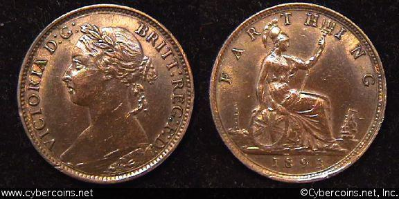 Great Britain, 1893,   1 farthing, AU, KM753
